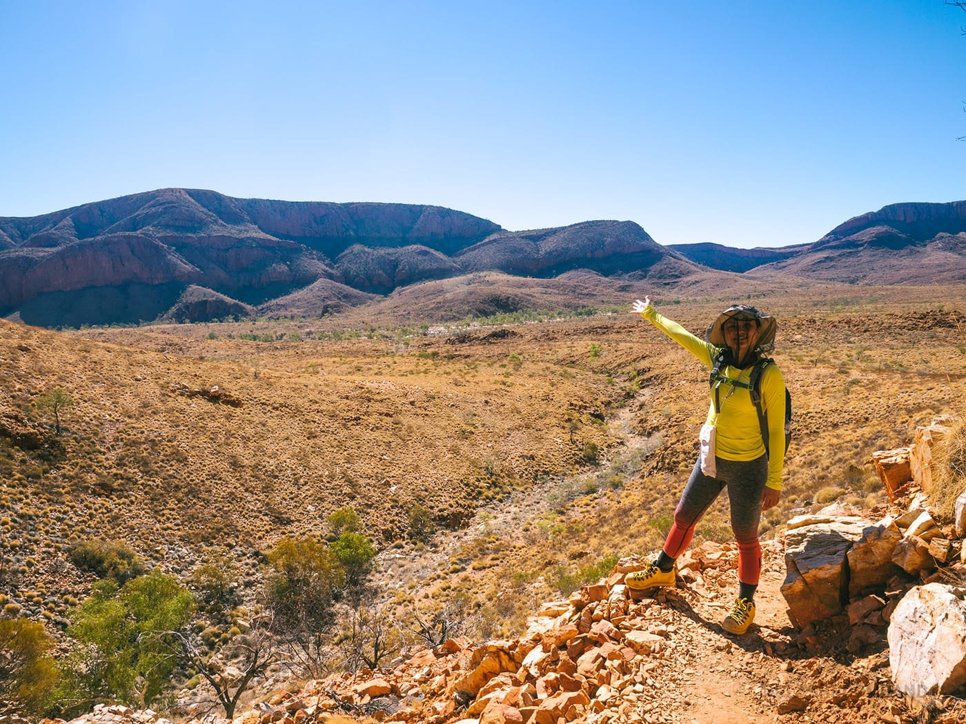 Showing off the view at Ormiston Gorge