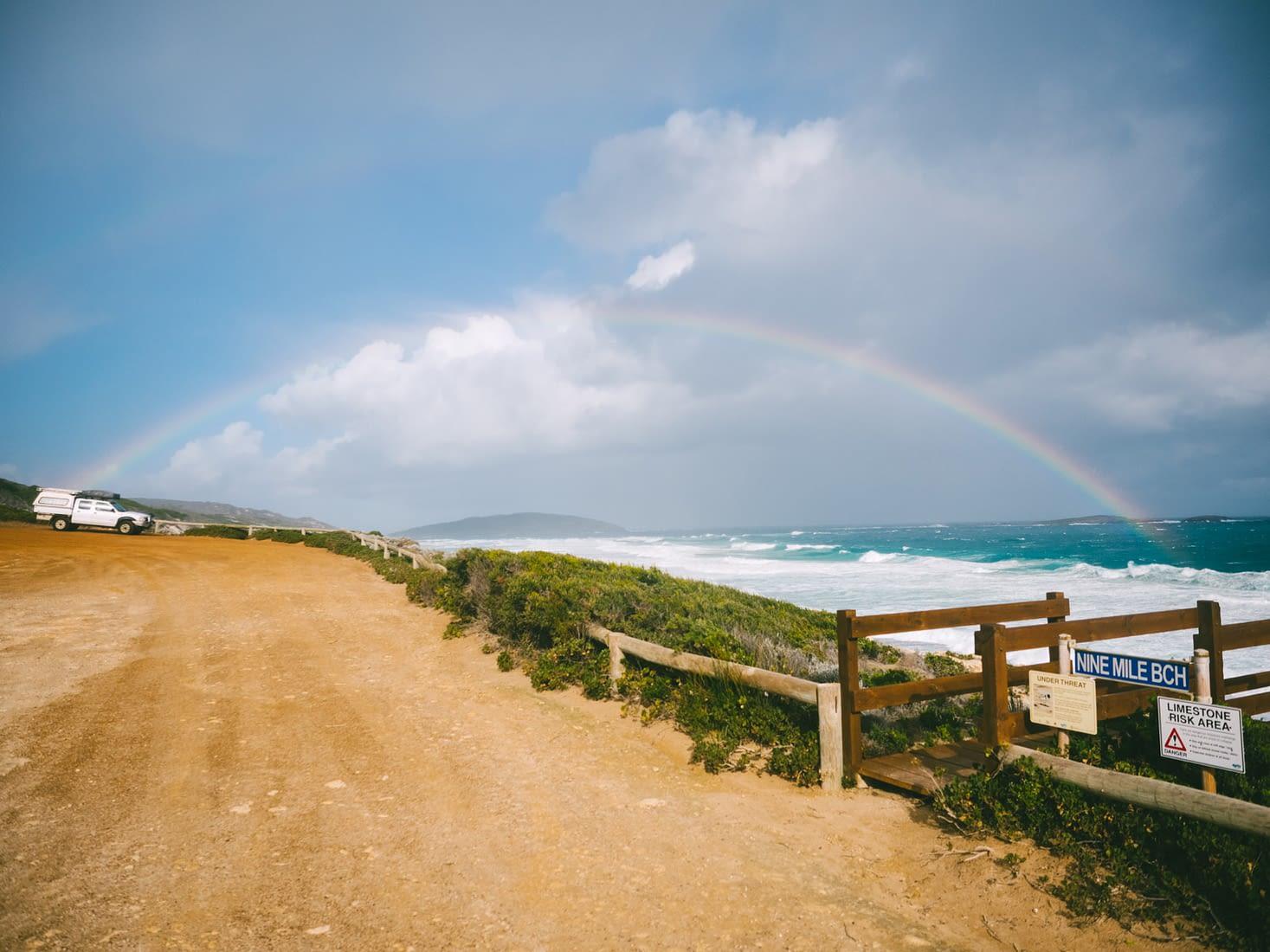 Perth - Esperance - Nine Mile Beach huge rainbow
