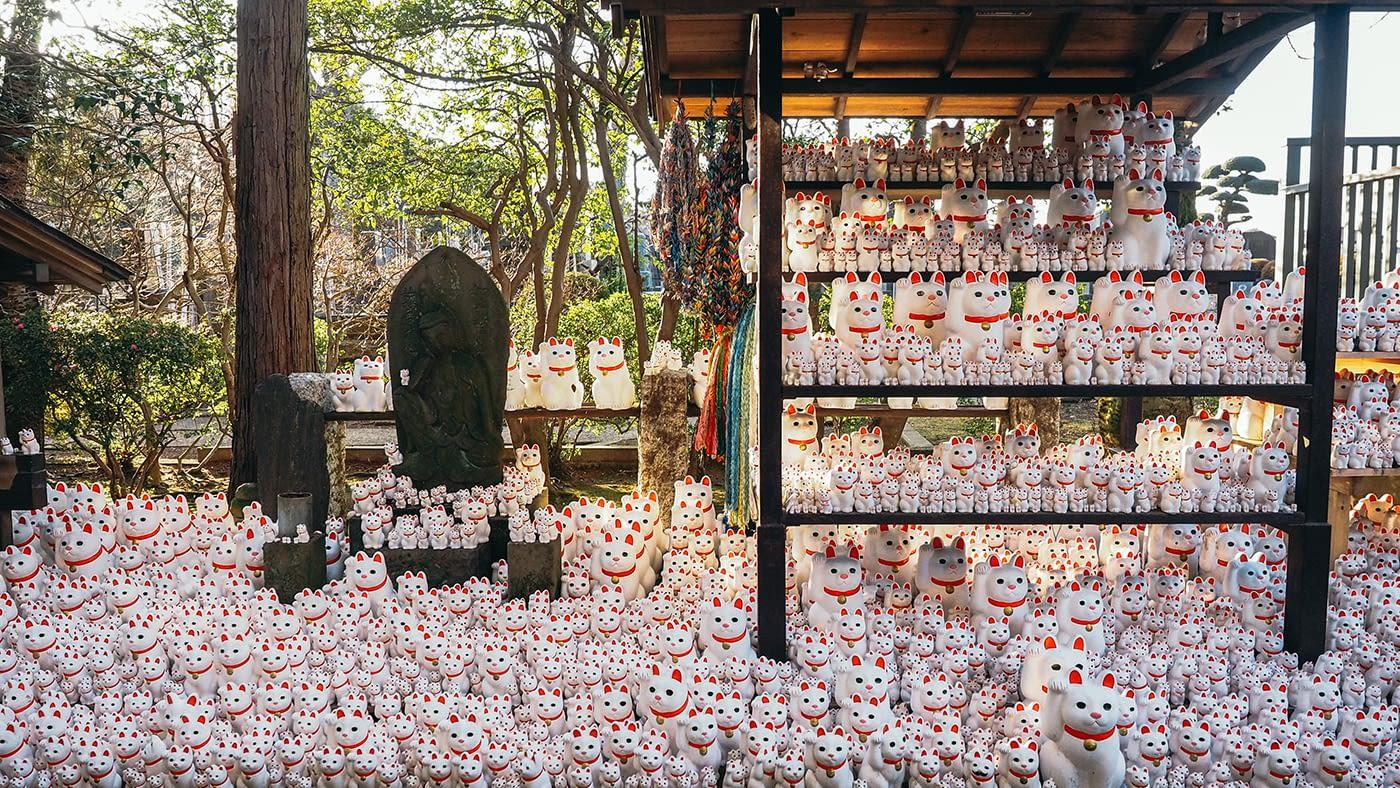 Japan - Gotokuji Temple - Ceramic neko for good luck
