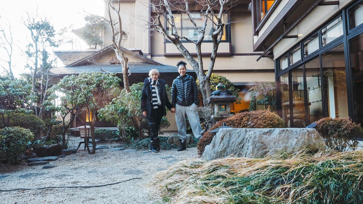 Japan - Mount Fuji - Couple friend posing at the Kozanteiubuya Ubuya Hotel garden