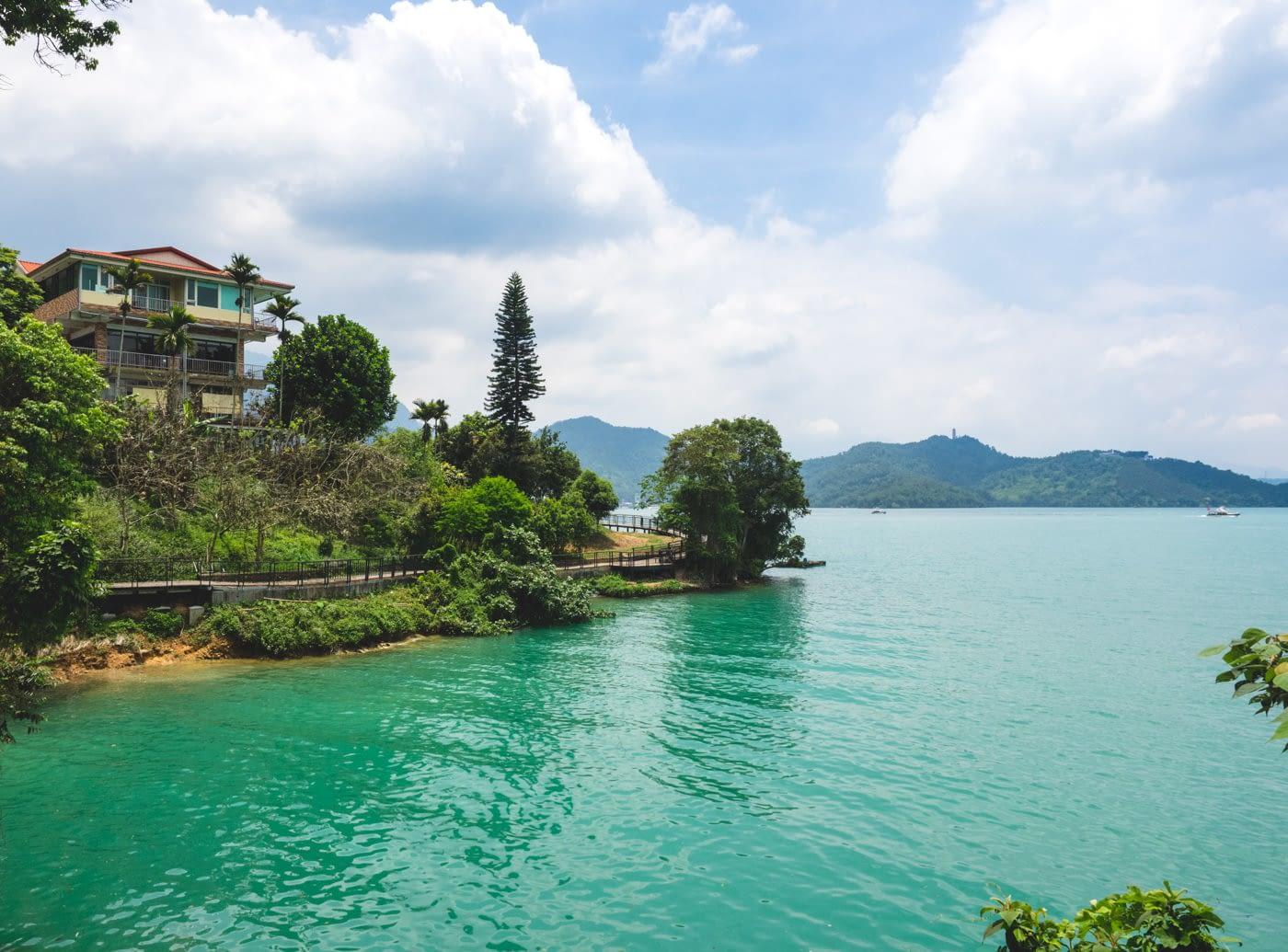 Taiwan - Sun Moon Lake - Green lake and a house