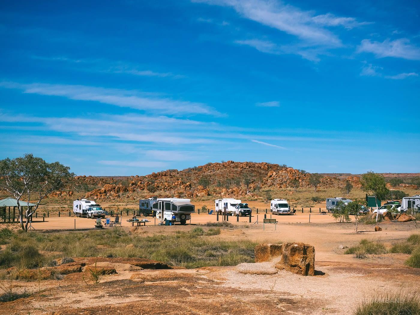 NT Australia - Karlu Karlu - Campervans parked by the other entrance