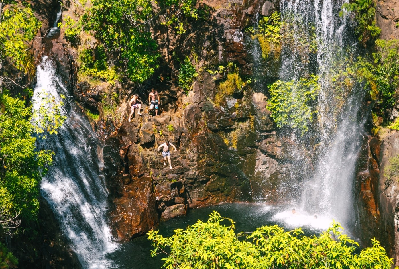 Litchfield National Park - Military guys jumping off the waterfalls in Litchfield National Park