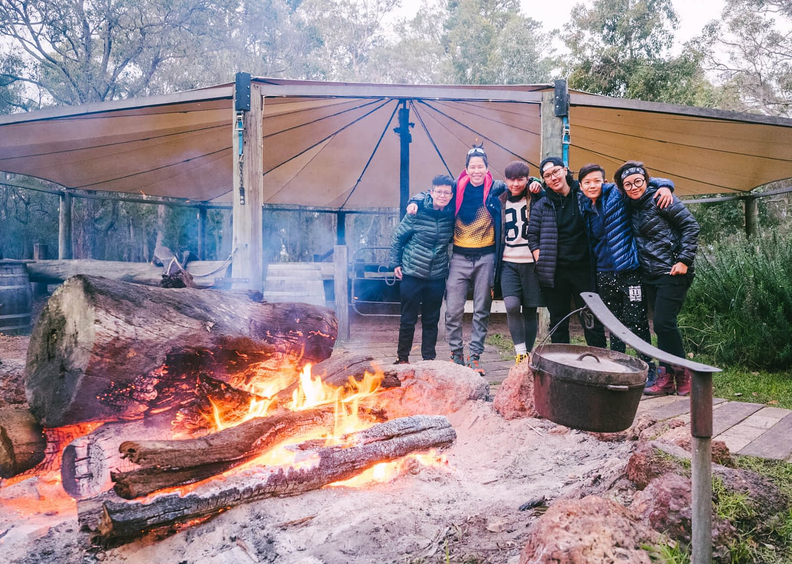 Perth, Australia - Jesters Flat - Warming ourselves at the campfire