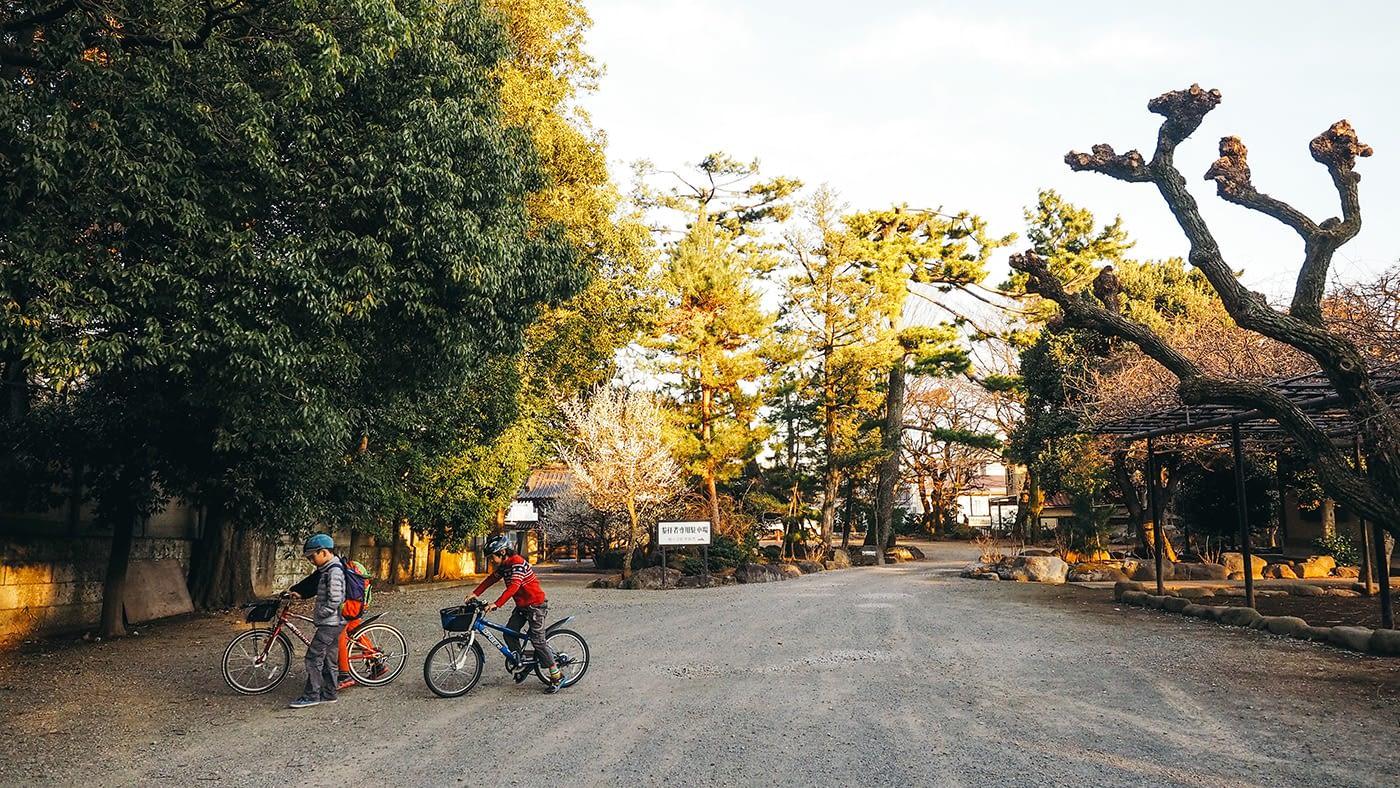 Japan - Gotokuji Temple - Kids cycling around