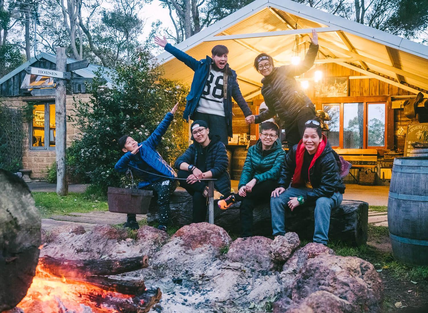 Perth, Australia - Jesters Flat - Wefie around the campfire
