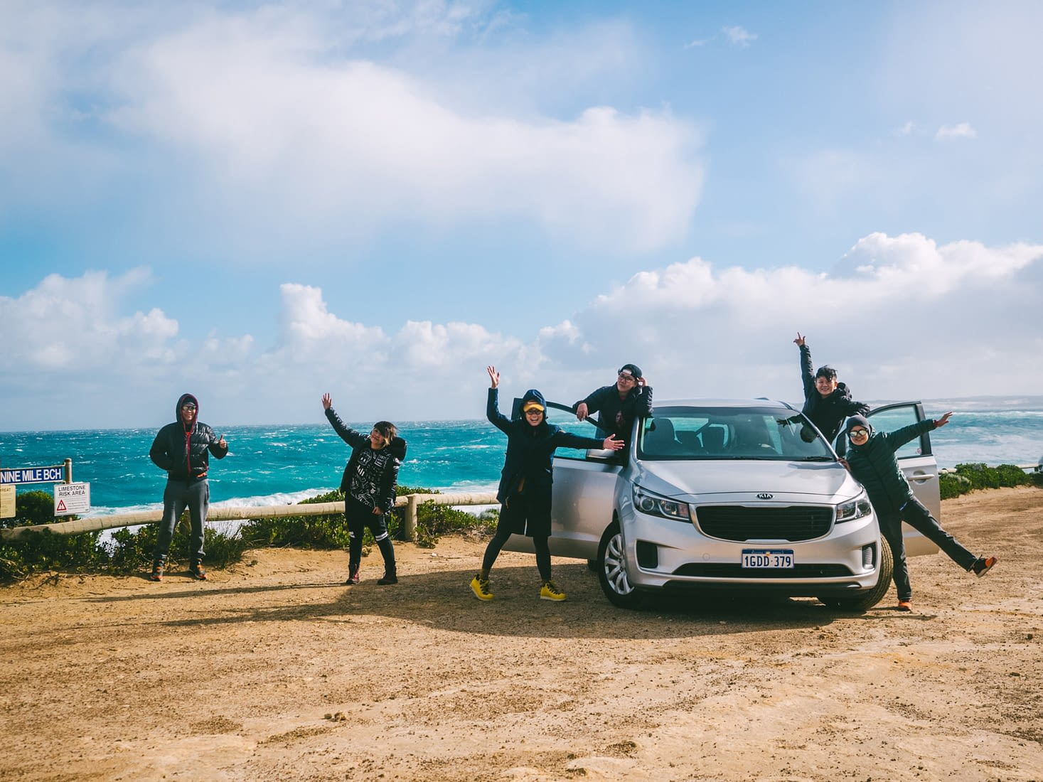 Perth - Esperance - Happy kids posing with their ride at Nine Mile Beach