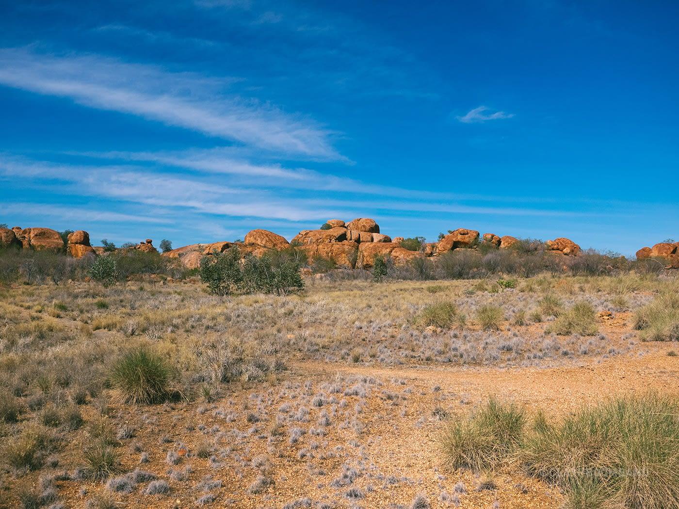 NT Australia - Karlu Karlu - Stack of boulders from afar