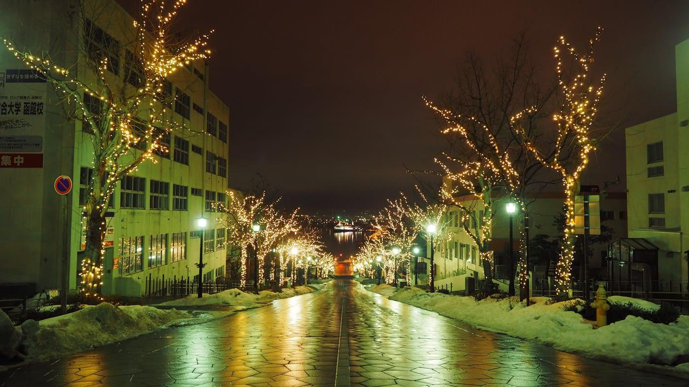 Brightly lit walkways at Motomachi park